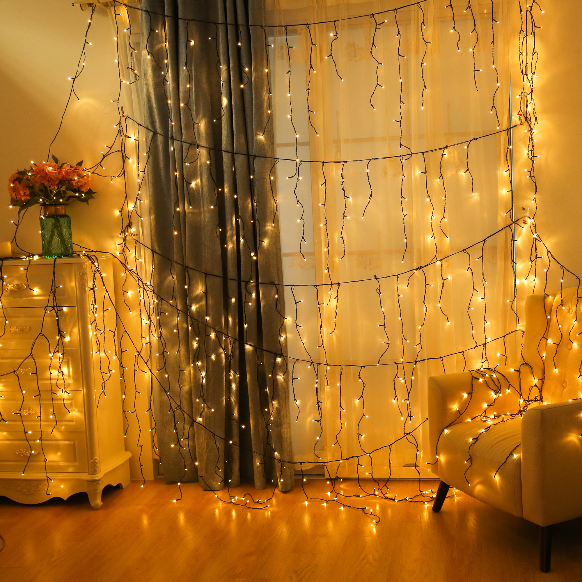 lichterkette eisregen led au en lichtervorhang weihnachten. Black Bedroom Furniture Sets. Home Design Ideas