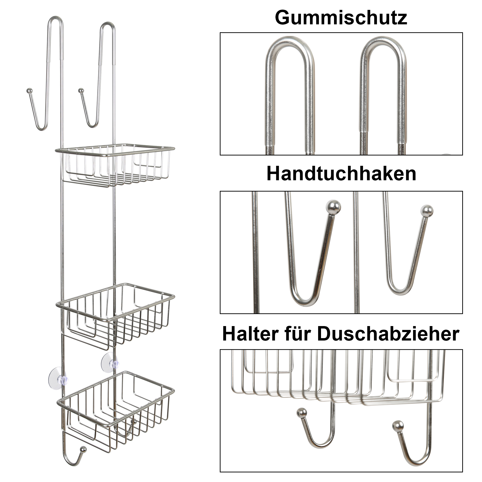 Indexbild 16 - Duschregal Duschablage ohne Bohren Edelstahl Badregal Hängen Duschkorb 2 3 Körbe